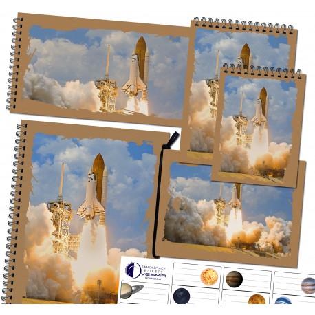 Sada zápisníkov a nálepiek - motív raketa