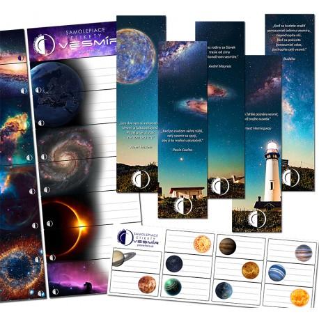 Samolepky a záložky vesmír