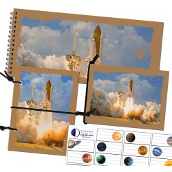 Set of A6 notepads with string and stickers - rocket