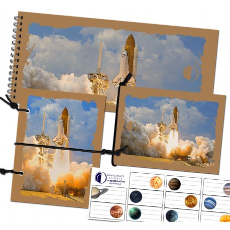Sada zápisníkov A6 s gumičkou a nálepiek - motív raketa