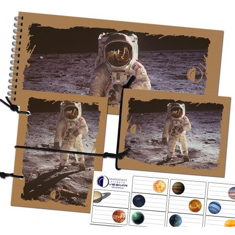 Sada zápisníkov A6 s gumičkou a nálepiek - motív kozmonuat