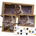 Sada zápisníkov A6 s gumičkou a nálepiek - motív kozmonaut