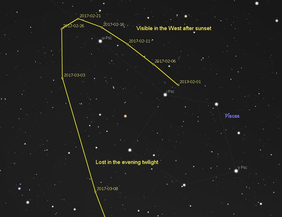 Poloha kométy na oblohe koncom februára azačiatkom marca.